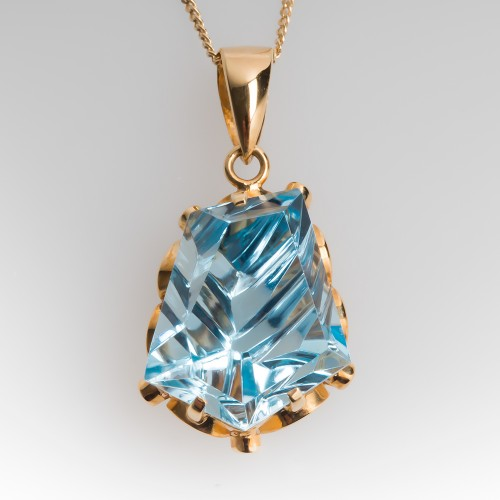 Fantasy Cut Blue Topaz Pendant Necklace 14K Gold