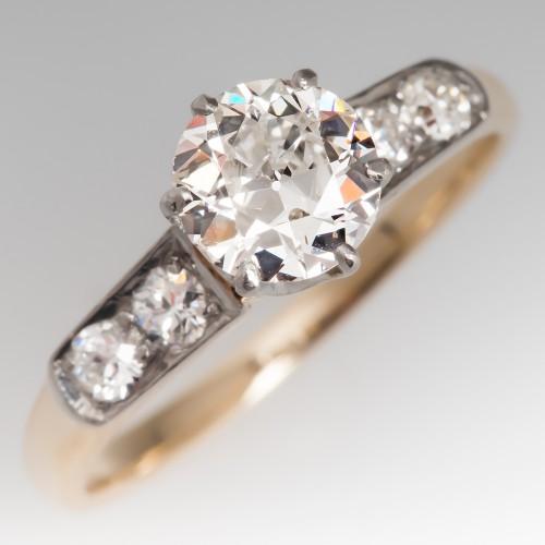 3/4 Carat Old European Cut Diamond Antique Ring 14K & Platinum