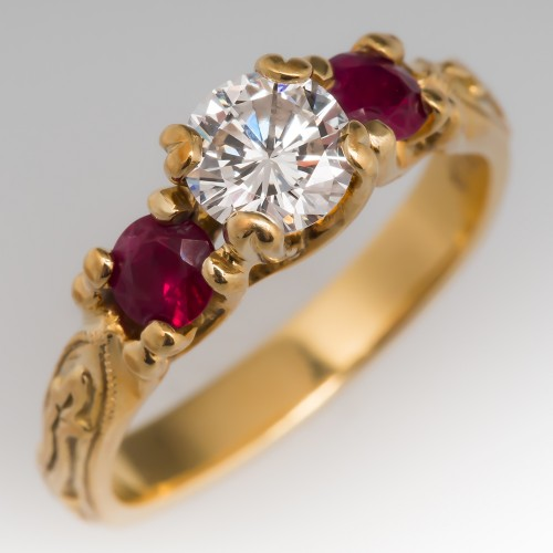 18K Yellow Gold Diamond & Ruby Three Stone Ring