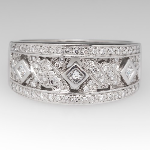 Wide Band Low Profile Diamond Ring Platinum