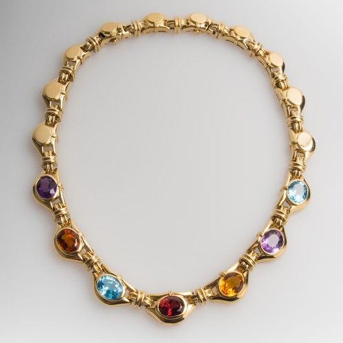 Substantial Gemstone Link Necklace 18K Yellow Gold 17-Inch