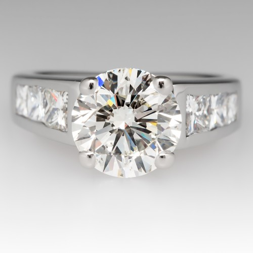 3 Carat Round Brilliant Diamond Engagement Ring Princess Cut Accents