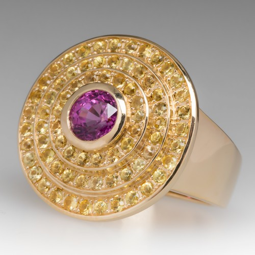 Pink & Yellow Sapphire Three Circle Halo Cocktail Ring 18K