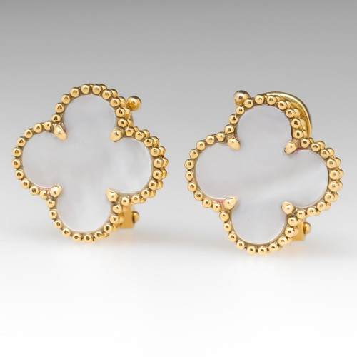 Van Cleef & Arpels Alhambra Earrings Mother Of Pearl Yellow Gold