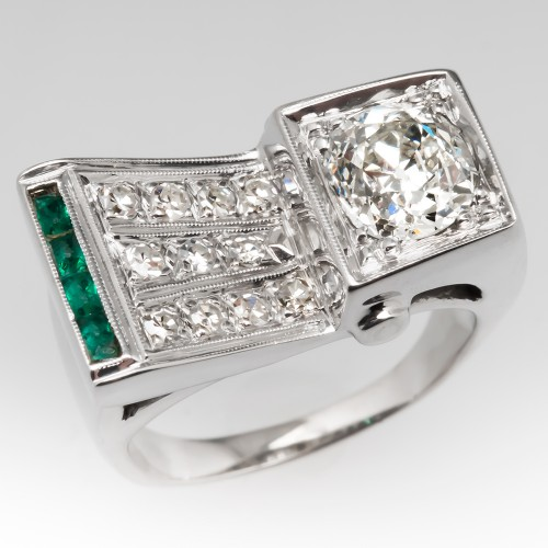 Retro Vintage Ring 1.5 Carat Old Mine Cut Diamond