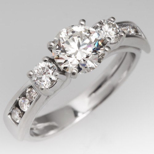 1 Carat Round Brilliant Diamond Engagement Ring Wedding Set 14K