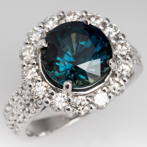 4 Carat Blue Green Sapphire & Diamond Halo Ring