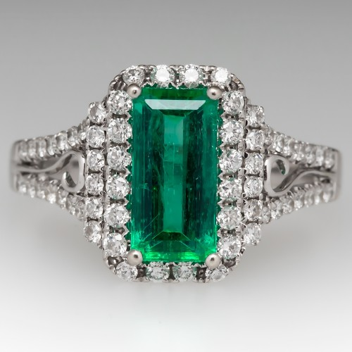 2.2 Carat Emerald & Diamond Halo Ring 18K White Gold