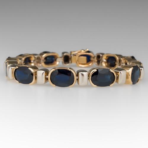27 Carat Dark Blue Sapphire Retro Vintage Bracelet 14K