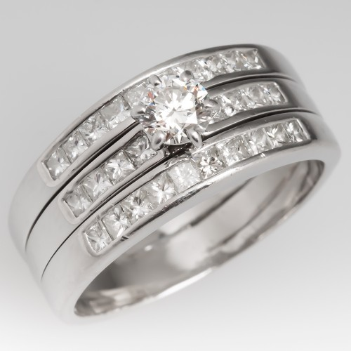 Platinum Three Band Diamond Engagement Ring Wedding Set