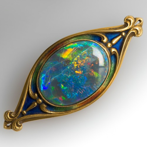 Herman Marcus & Co. Opal Pin Brooch Art Nouveau