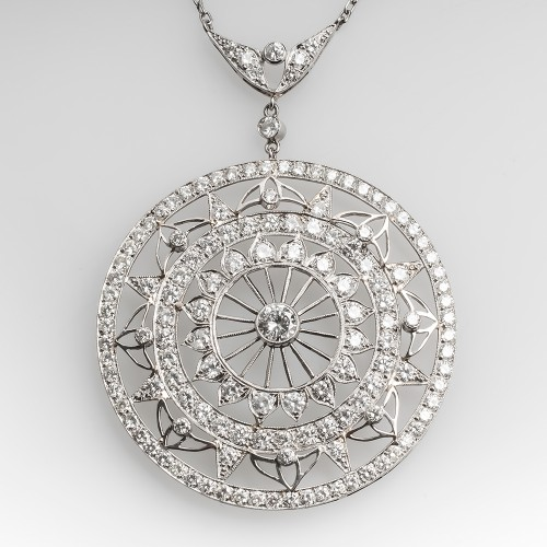 Beautiful Large Round Lace Motif Diamond Pendant Necklace Platinum