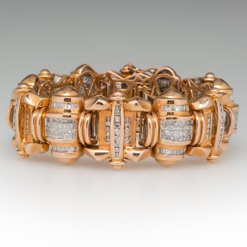 9 Carat Diamond Encrusted Fancy Link 14K Rose Gold Bracelet