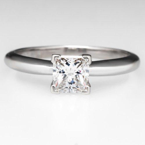 Solitaire Princess Cut D / VS2 Diamond Engagement Ring 14K White Gold