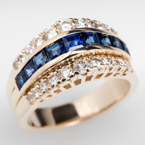 Domed Blue Sapphire & Diamond Band Ring 14K Gold