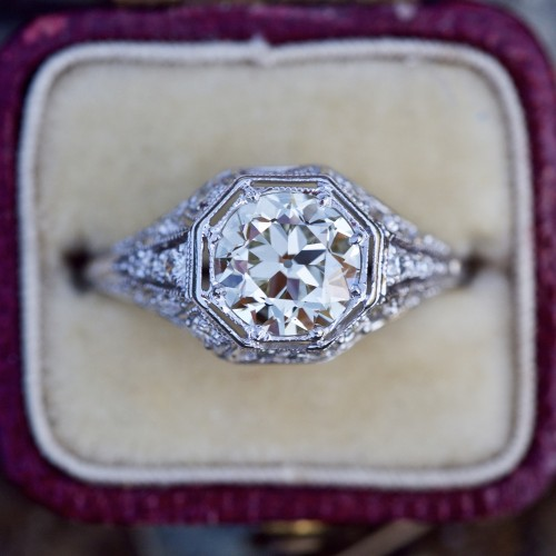1.5 Carat Euro Cut Diamond Platinum Filigree Engagement Ring