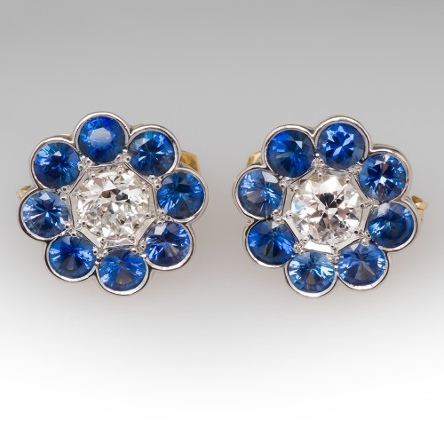 Old European Cut Diamond & Blue Sapphire Flower Earrings
