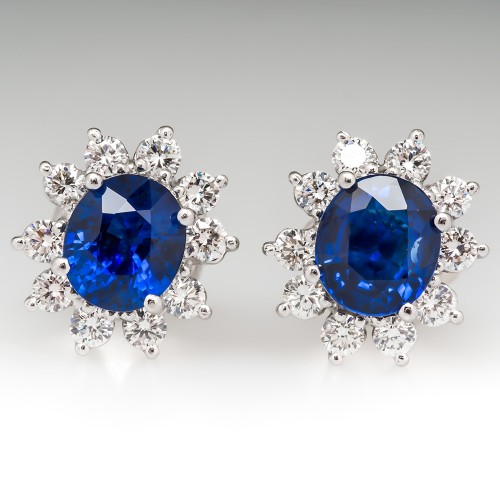 Rich Blue Sapphire & Diamond Halo Earrings Fit For A Princess