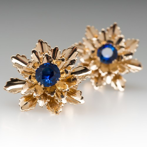 Vintage Tiffany & Co Blue Sapphire Floral Earrings 14K