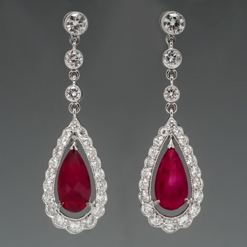 Pear Ruby & Diamond Dangle Earrings 18K White Gold