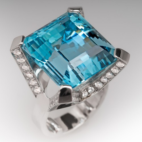 28 Carat Aquamarine Cocktail Ring Diamond Accents 18K