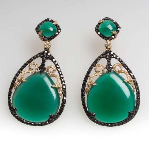 Black & White Diamond Green Chalcedony Dangle Earrings 14K