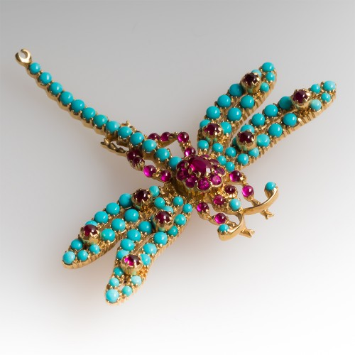 Natural Turquoise & Ruby Dragonfly Brooch Pin 18K