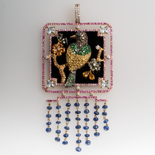 Gemstone Encrusted Large Nature Motif Bird Pendant 18K Gold