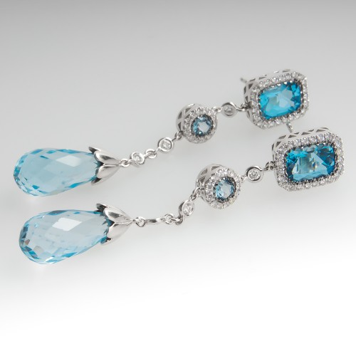 Blue Topaz & Diamond Dangle Earrings 14K White Gold