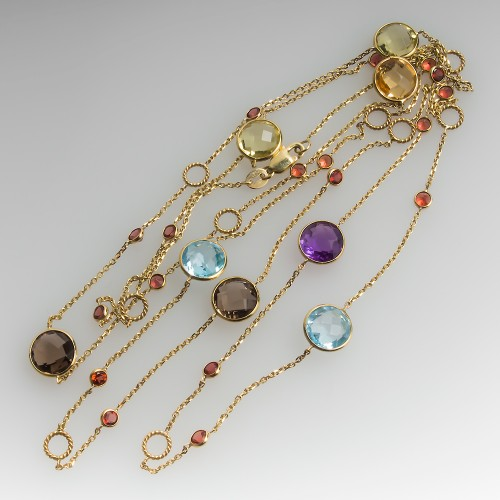 36-Inch Multi Gemstone Station Necklace Bezel Settings 14K