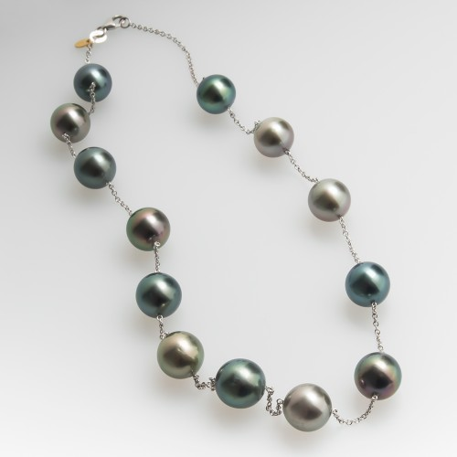 Tahitian Black Pearl Necklace Station Style 18K Gold