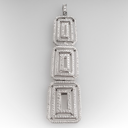 Diamond Encrusted Openwork Geometric Pendant 18K White Gold