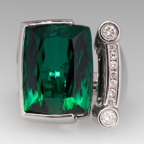 17 Carat Green Tourmaline & Diamond Cocktail Ring 14K