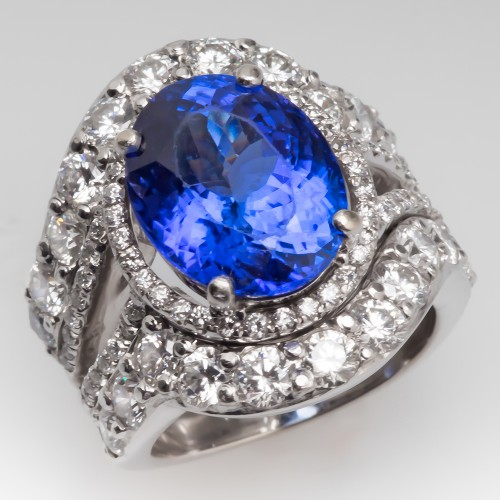 6 Carat Tanzanite & Diamond Wide Band Cocktail Ring 18K