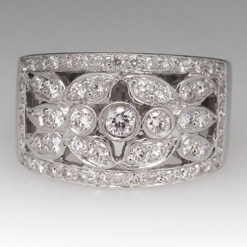 1 Carat Total Wide Band Diamond Platinum Ring