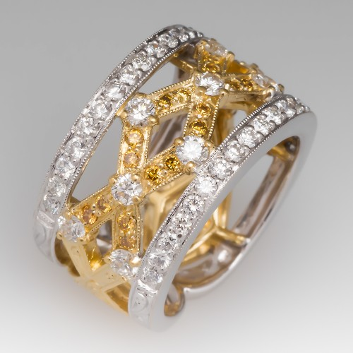 Simon G Wide Band Diamond Ring 18K Yellow & White Gold