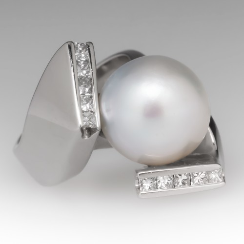 South Sea Pearl Ring 18K White Gold Cocktail w/ Diamonds