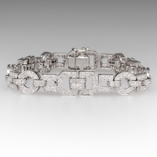 Diamond Encrusted Modern Link Bracelet 18K White Gold