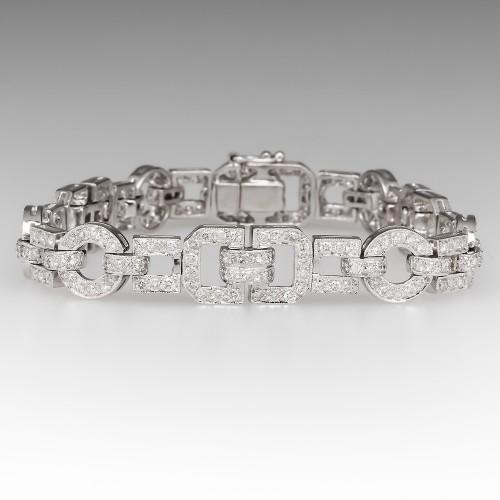 Diamond Encrusted Modern Link Bracelet 18K White Gold