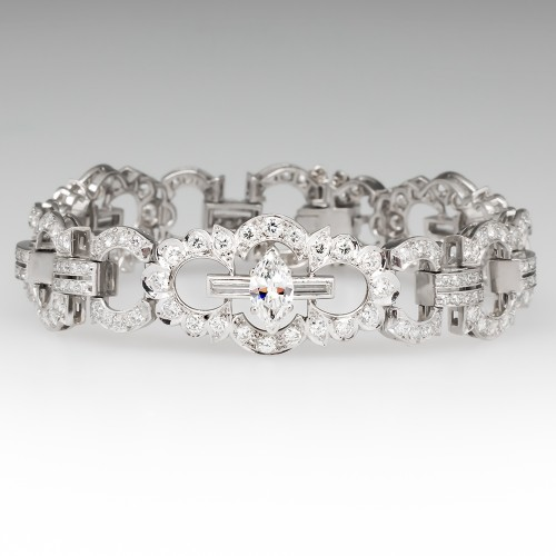 1950's Stunning 10 Carat Diamond Encrusted Bracelet in Platinum