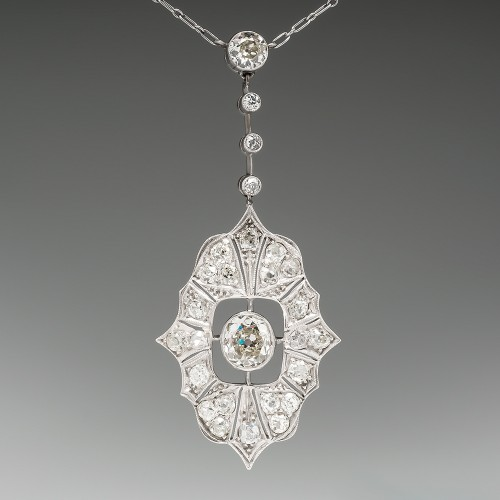Antique Old Mine Cut Diamond Platinum Necklace
