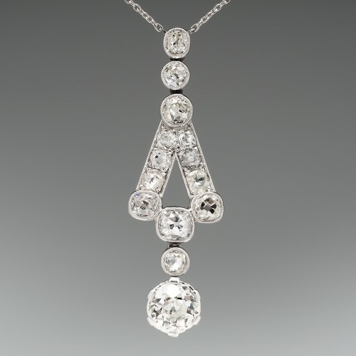 1920's 1.6 Carat Old European Cut Diamond Necklace 18K White Gold