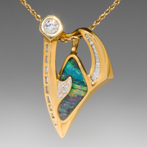 Freeform Boulder Opal & Diamond Pendant 18K Gold