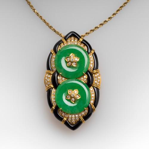 Jadeite Jade Diamond & Onyx Pendant / Brooch 18K