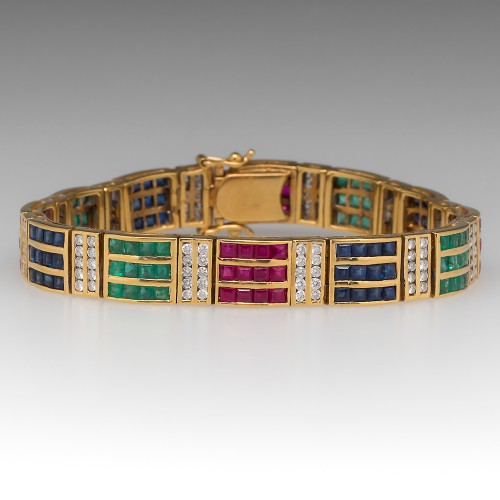 Ruby Emerald Sapphire Diamond Vintage 18K Yellow Gold Bracelet