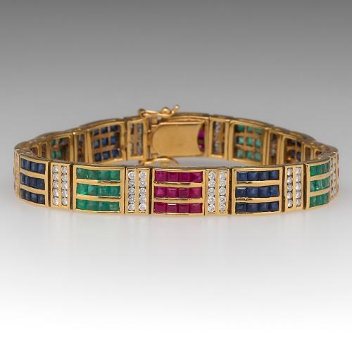 Ruby Emerald Sapphire Diamond Vintage 18K Yellow Gold Bracelet