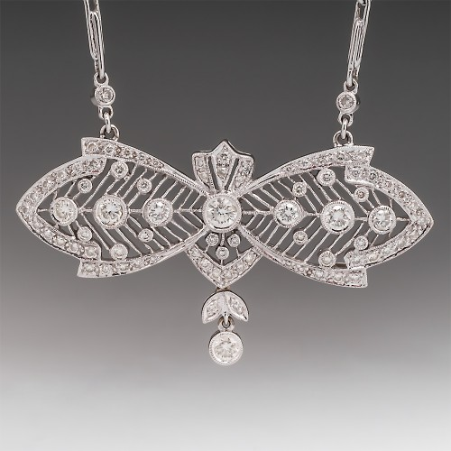 18K Fancy Openwork Diamond Pendant Necklace 16""