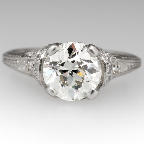 Edwardian Era Antique Diamond Engagement Ring Platinum 1920's