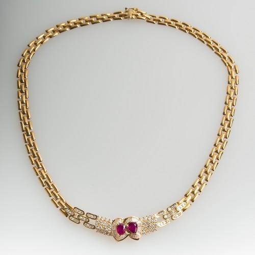 Pear Cut Ruby & Diamond Fancy Link Necklace 16-Inch 18K