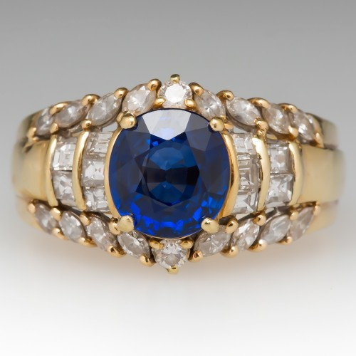 Vintage 2 Carat Rich Blue Sapphire & Diamond Ring 18K